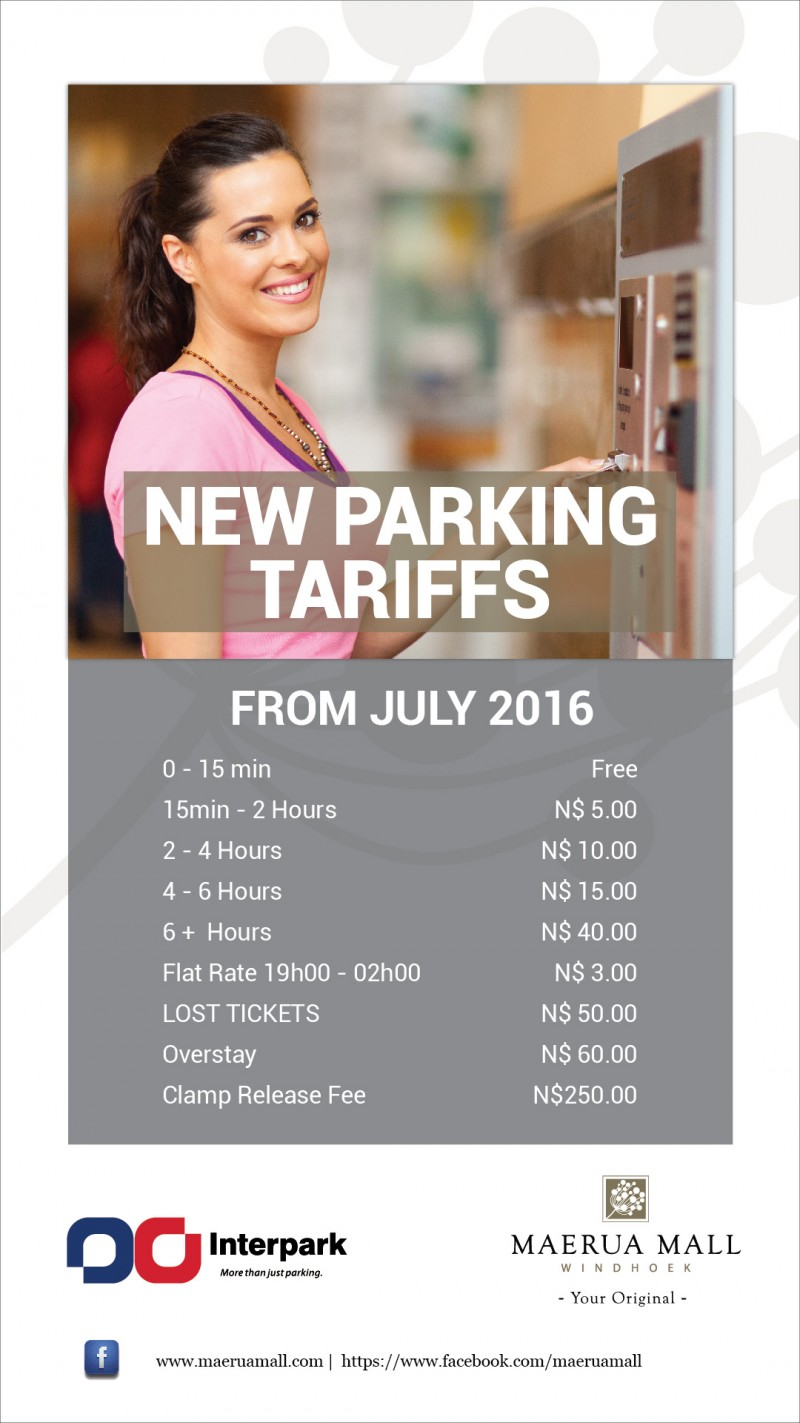 PARKING TARIFFS STARTING JULY 2016